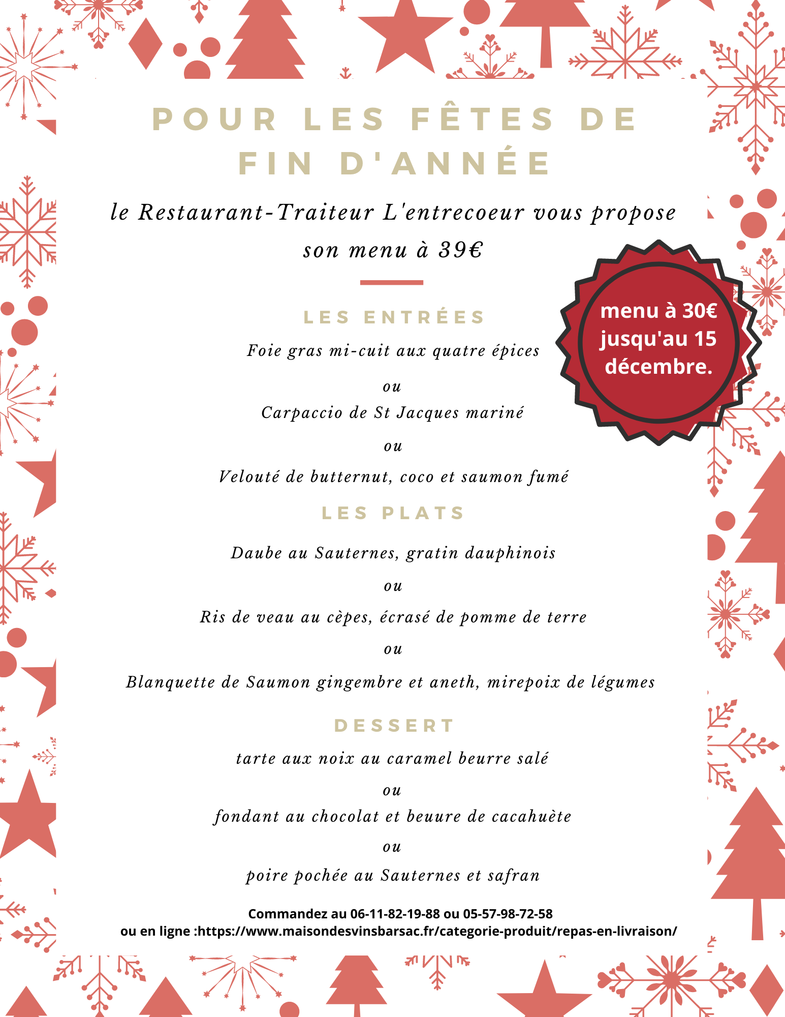 Red and Gold Outline Christmas Patterned Dinner Menu